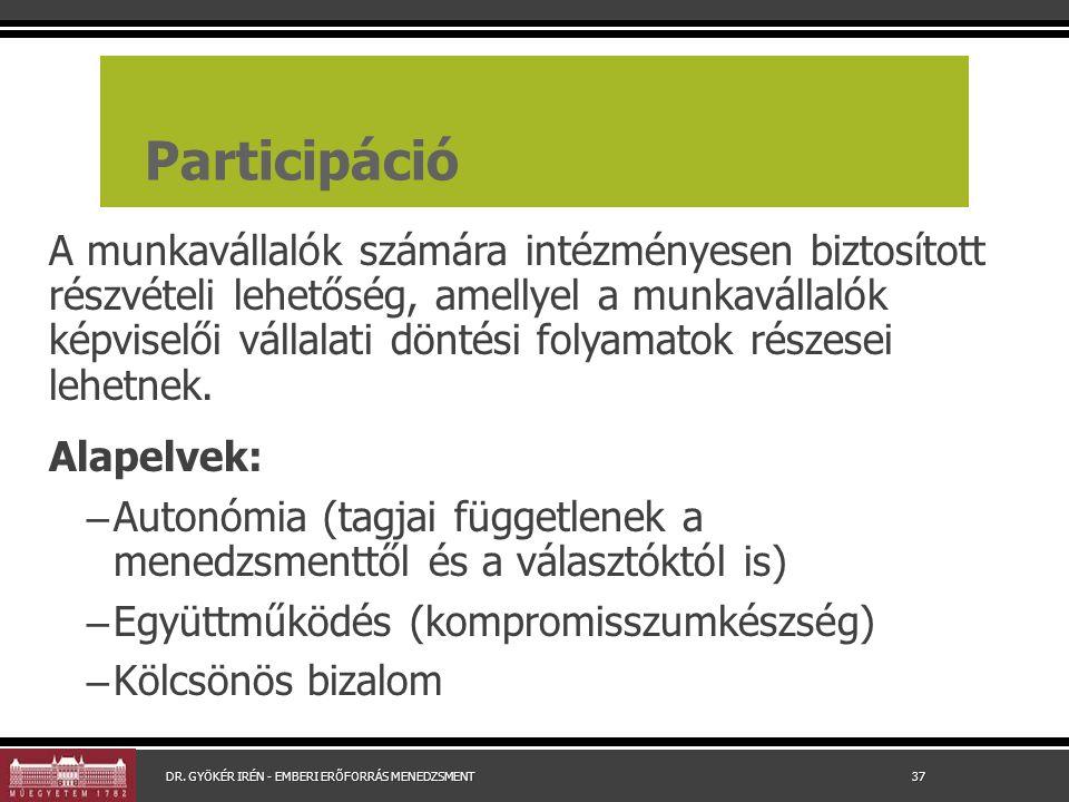 Participáció A munkavállalók számára intézményesen biztosított részvételi lehetőség, amellyel a munkavállalók képviselői vállalati döntési folyamatok