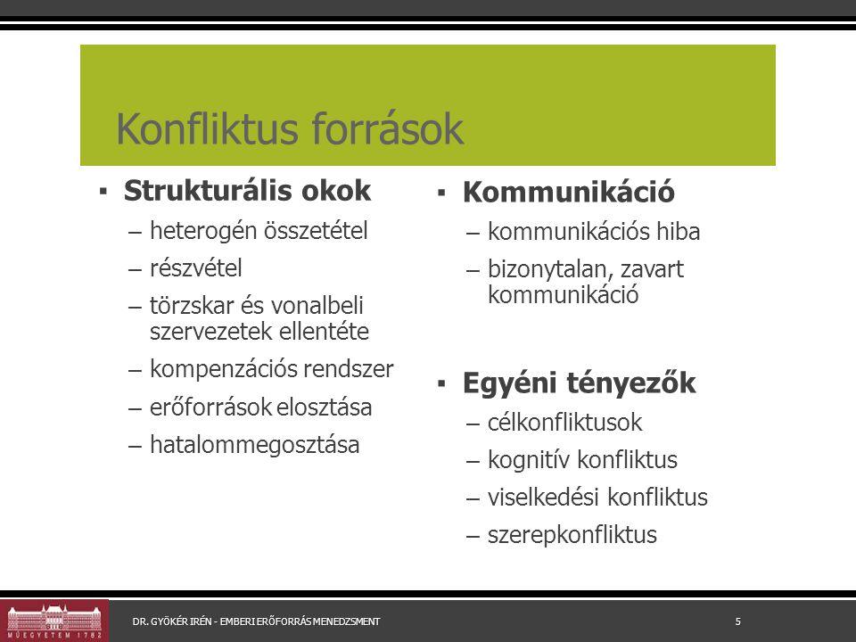 Konfliktus források ▪ Strukturális okok – heterogén összetétel – részvétel – törzskar és vonalbeli szervezetek ellentéte – kompenzációs rendszer – erő