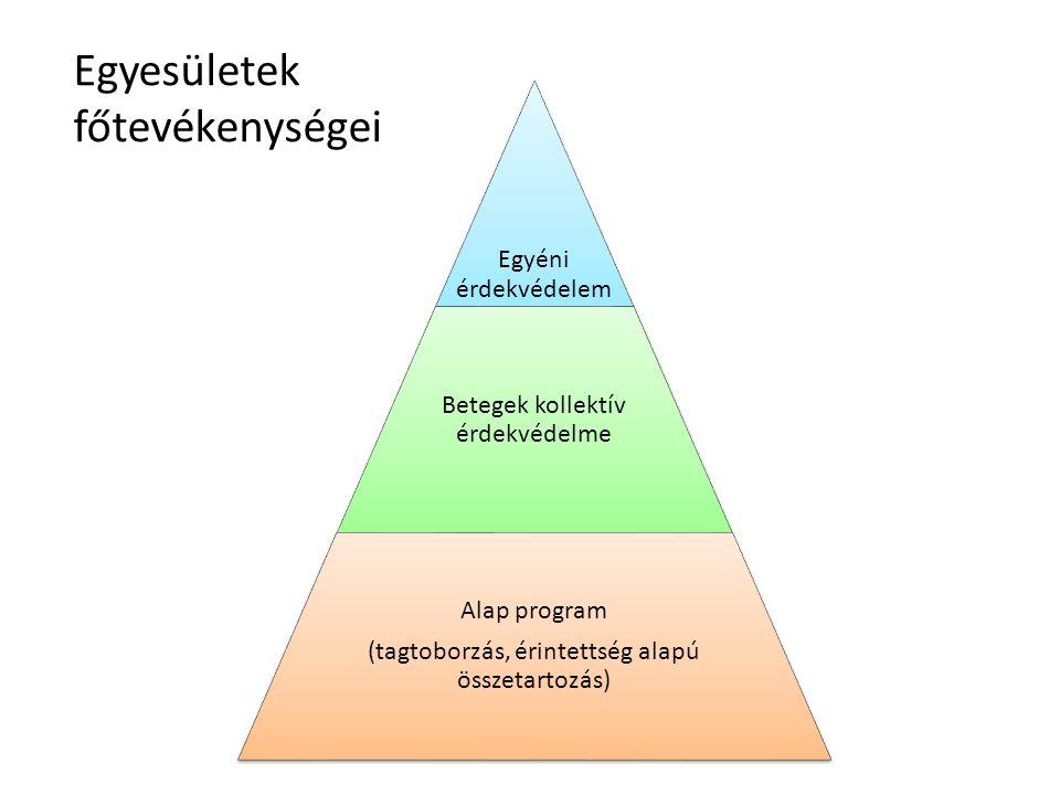 Egyéni érdekvédelem Betegek kollektív érdekvédelme Alap program (tagtoborzás, érintettség alapú összetartozás) Egyesületek főtevékenységei