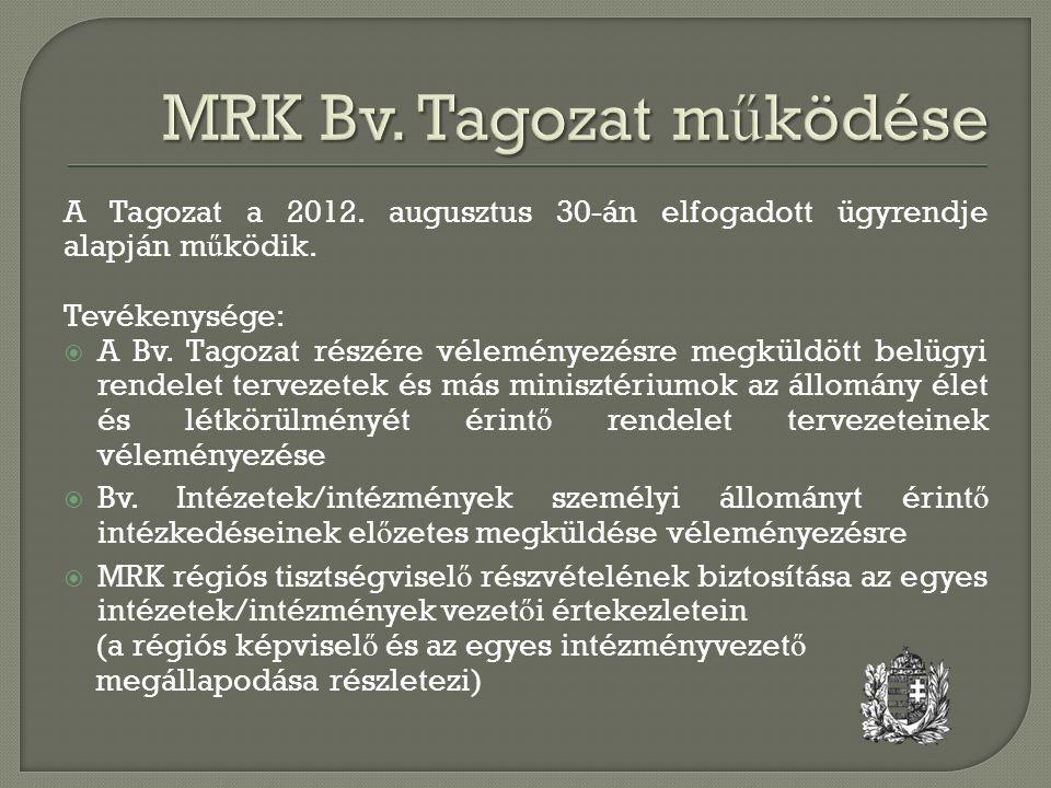 A Tagozat a 2012. augusztus 30-án elfogadott ügyrendje alapján m ű ködik. Tevékenysége:  A Bv. Tagozat részére véleményezésre megküldött belügyi rend