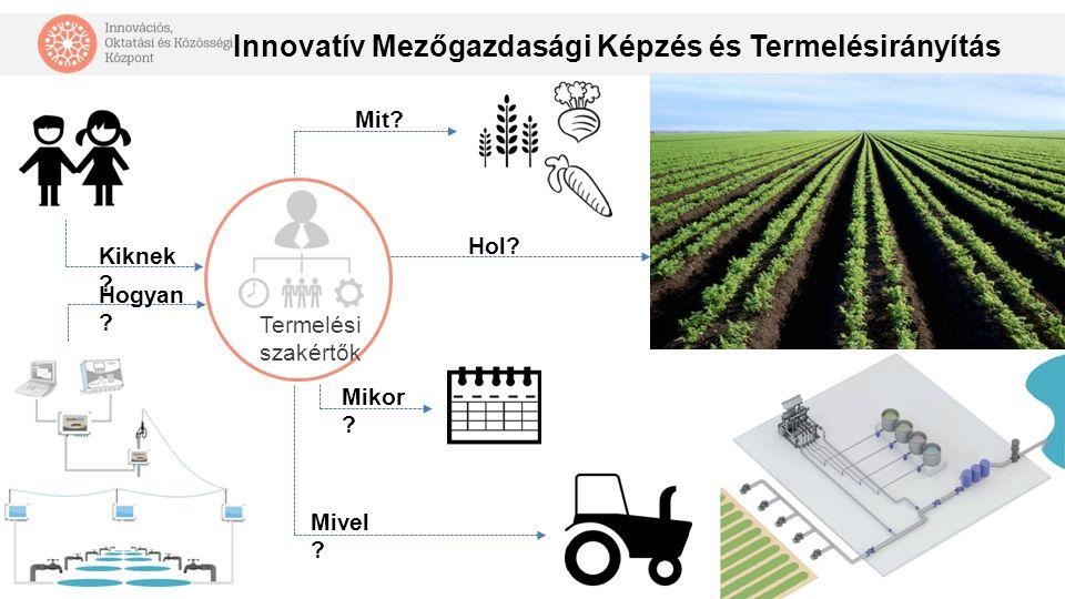Innovatív Mezőgazdasági Képzés és Termelésirányítás Mit? Termelési szakértők Hol? Mikor ? Mivel ? Kiknek ? Hogyan ?