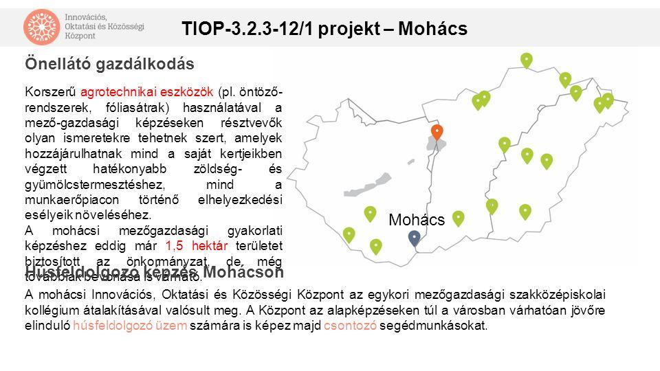 TIOP-3.2.3-12/1 projekt – Mohács Mohács Korszerű agrotechnikai eszközök (pl. öntöző- rendszerek, fóliasátrak) használatával a mező-gazdasági képzéseke