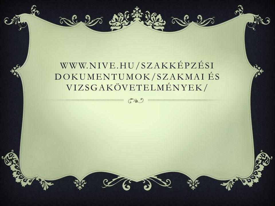 WWW.NIVE.HU/SZAKKÉPZÉSI DOKUMENTUMOK/SZAKMAI ÉS VIZSGAKÖVETELMÉNYEK/