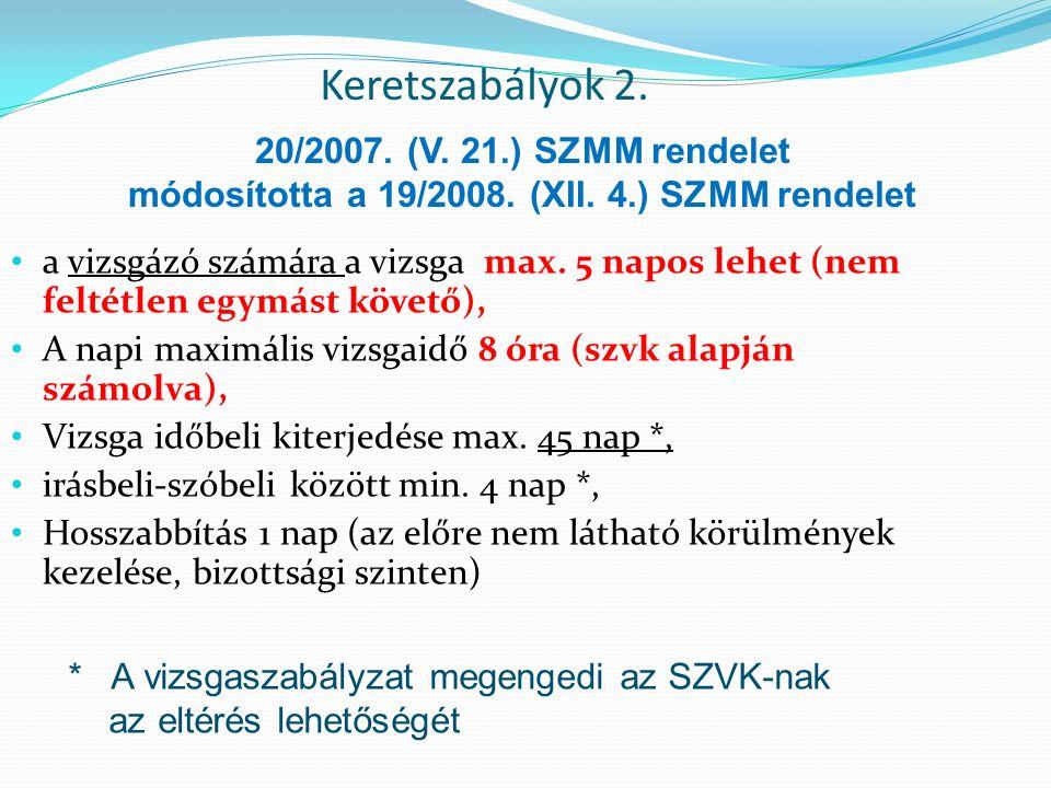 Keretszabályok 2. a vizsgázó számára a vizsga max.