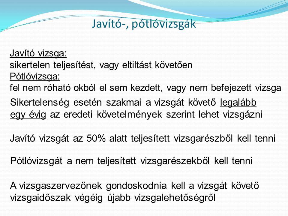 Javító-, pótlóvizsgák Javító vizsga: sikertelen teljesítést, vagy eltiltást követően Pótlóvizsga: fel nem róható okból el sem kezdett, vagy nem befeje