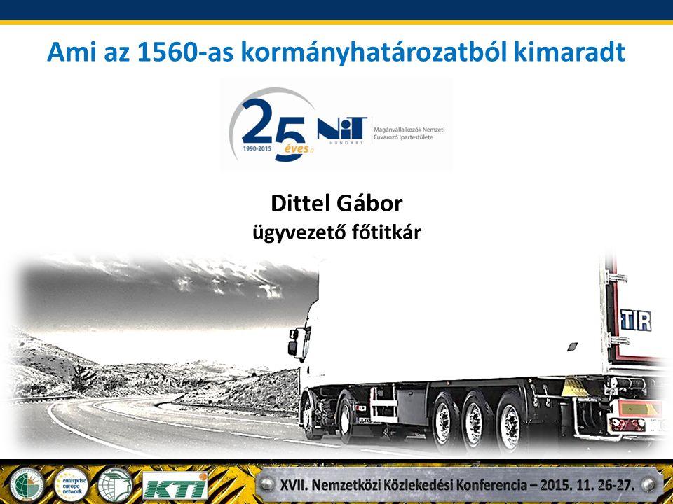 A NiT Hungary szerepvállalása a közúti fuvarozók érdekében 20/1991 Korm.