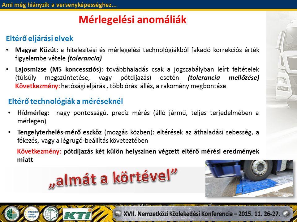 Eltérő eljárási elvek Magyar Közút: a hitelesítési és mérlegelési technológiákból fakadó korrekciós érték figyelembe vétele (tolerancia) Lajosmizse (M