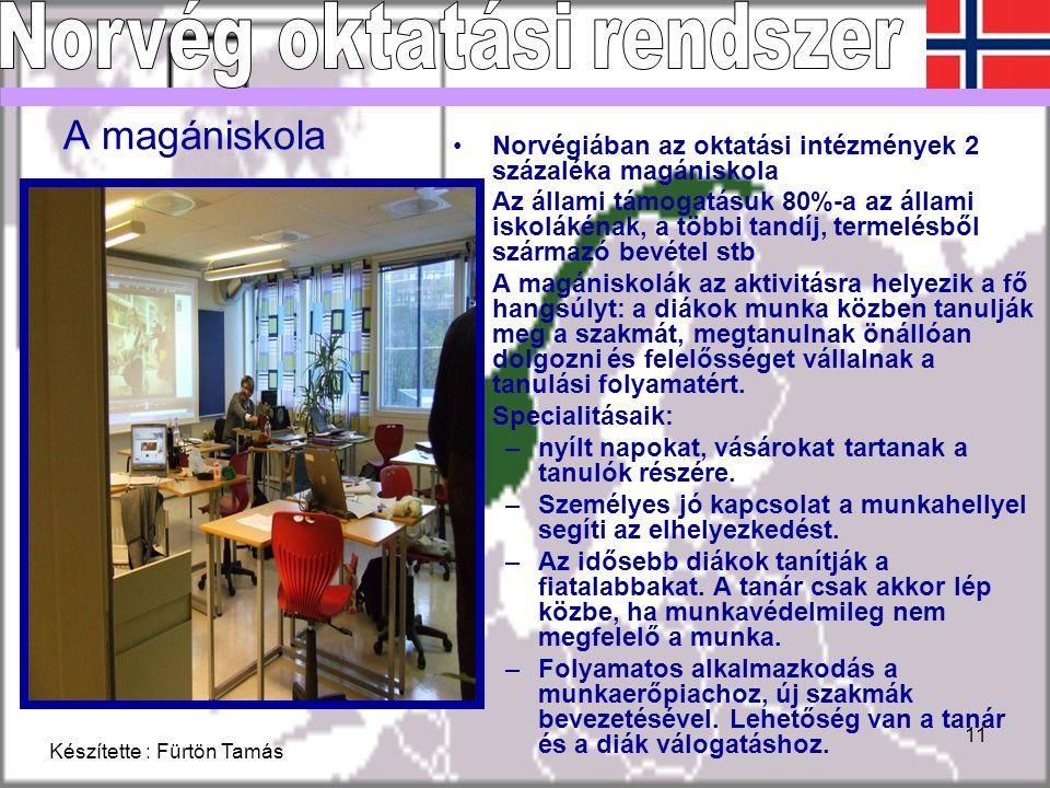 Készítette : Fürtön Tamás 11 A magániskola Norvégiában az oktatási intézmények 2 százaléka magániskola Az állami támogatásuk 80%-a az állami iskolákénak, a többi tandíj, termelésből származó bevétel stb A magániskolák az aktivitásra helyezik a fő hangsúlyt: a diákok munka közben tanulják meg a szakmát, megtanulnak önállóan dolgozni és felelősséget vállalnak a tanulási folyamatért.