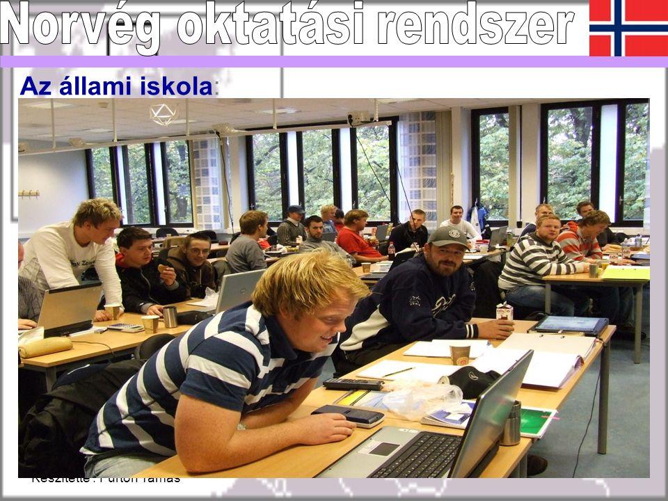 Készítette : Fürtön Tamás 12 Az állami iskola: Norvégiában is azonosak a problémák, mint Magyarországon: –- a diákok kimaradása egyre növekvő –- motiválatlan diákok magas aránya –- a gazdaság igénye és a képzés eltérő –- demográfia Az elektronikus napló: Városi szinten az összes intézmény elektronikus naplót alkalmaz.