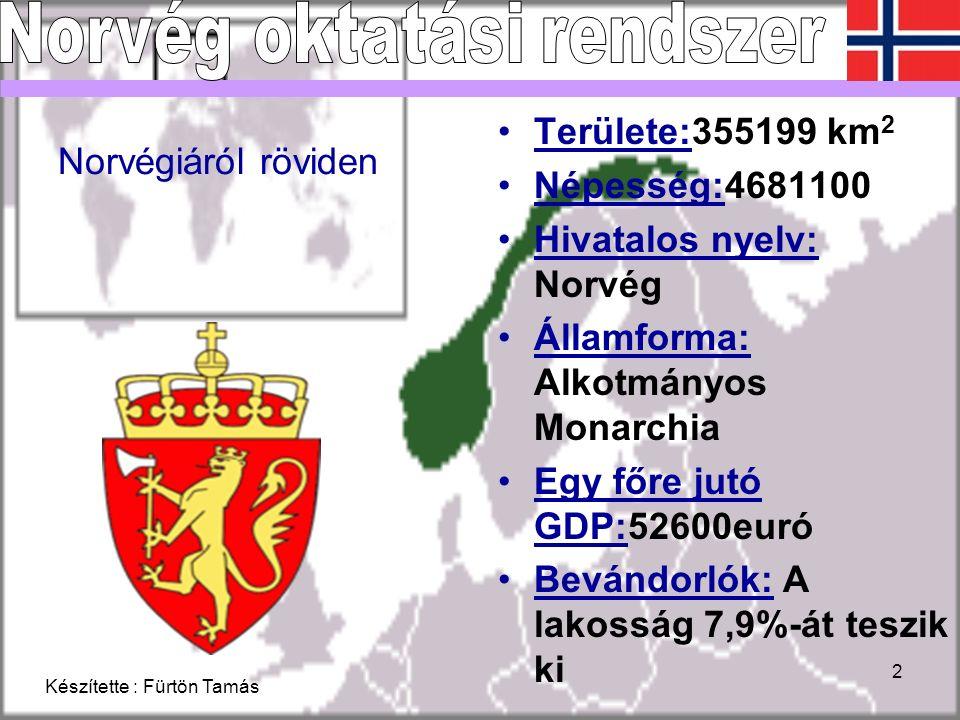 Készítette : Fürtön Tamás 2 Norvégiáról röviden Területe:355199 km 2 Népesség:4681100 Hivatalos nyelv: Norvég Államforma: Alkotmányos Monarchia Egy főre jutó GDP:52600euró Bevándorlók: A lakosság 7,9%-át teszik ki
