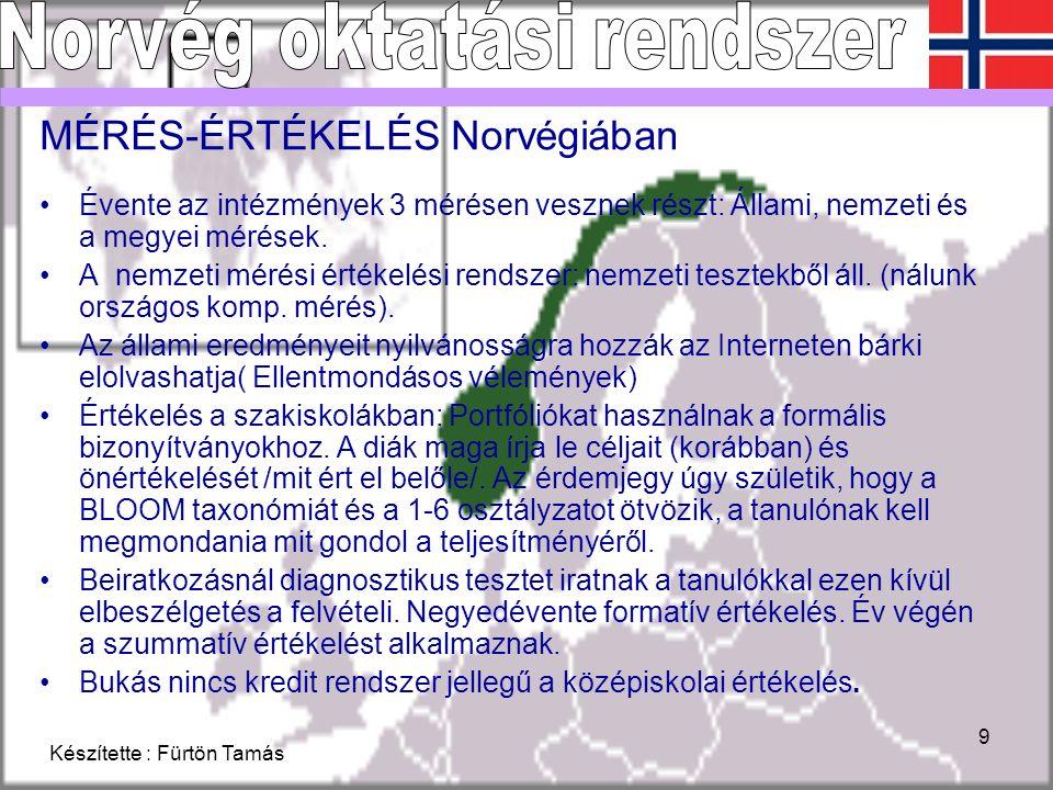 Készítette : Fürtön Tamás 9 MÉRÉS-ÉRTÉKELÉS Norvégiában Évente az intézmények 3 mérésen vesznek részt: Állami, nemzeti és a megyei mérések.