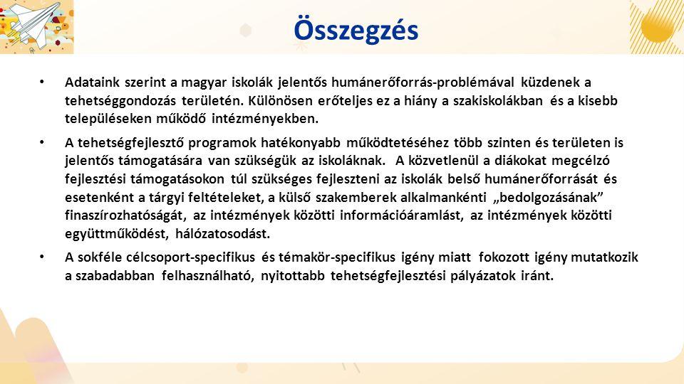 Összegzés Adataink szerint a magyar iskolák jelentős humánerőforrás-problémával küzdenek a tehetséggondozás területén. Különösen erőteljes ez a hiány