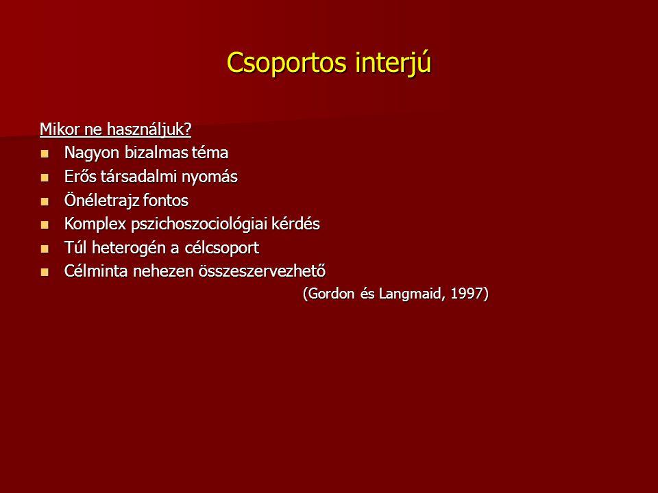 Csoportos interjú Mikor ne használjuk.