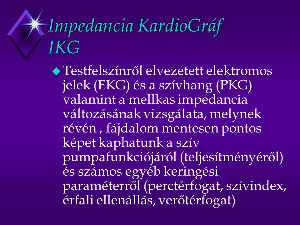 Impedancia KardioGráf IKG u Testfelszínről elvezetett elektromos jelek (EKG) és a szívhang (PKG) valamint a mellkas impedancia változásának vizsgálata