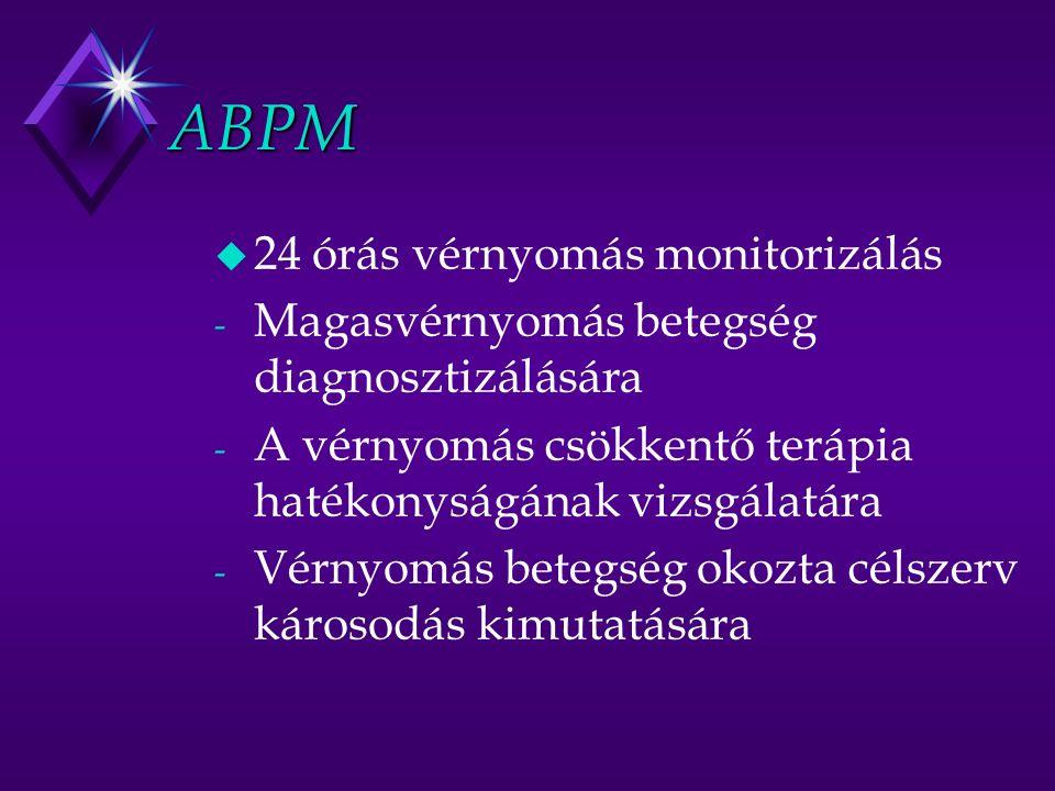 ABPM u 24 órás vérnyomás monitorizálás - Magasvérnyomás betegség diagnosztizálására - A vérnyomás csökkentő terápia hatékonyságának vizsgálatára - Vérnyomás betegség okozta célszerv károsodás kimutatására