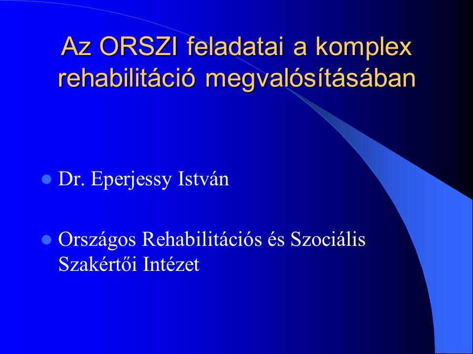 Az ORSZI feladatai a komplex rehabilitáció megvalósításában Dr.