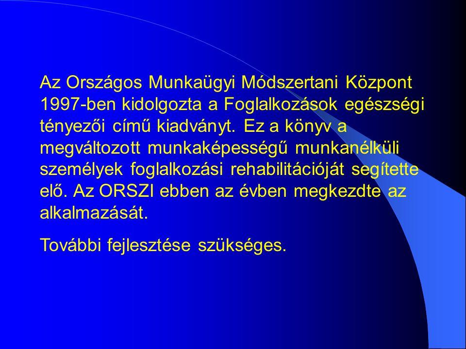 Az Országos Munkaügyi Módszertani Központ 1997-ben kidolgozta a Foglalkozások egészségi tényezői című kiadványt.