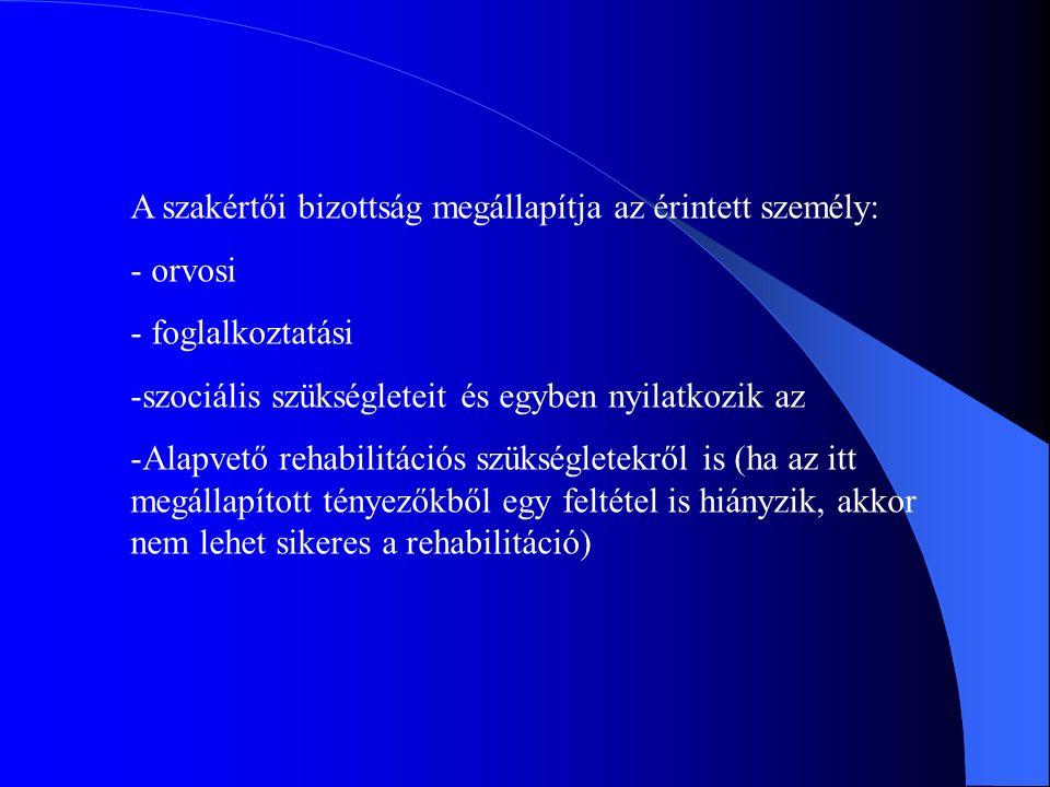 A rehabilitálhatóság megítélése során a bizottság az alábbi szempontokat veszi figyelembe: -Az egészség károsodás mértékét -A szakmai munkaképességet -A személyi adottságokat -A képzettséget -A szakmai gyakorlatot -Szociális körülményeket -Társadalmi környezetet és -A munkaerő-piaci lehetőségeket