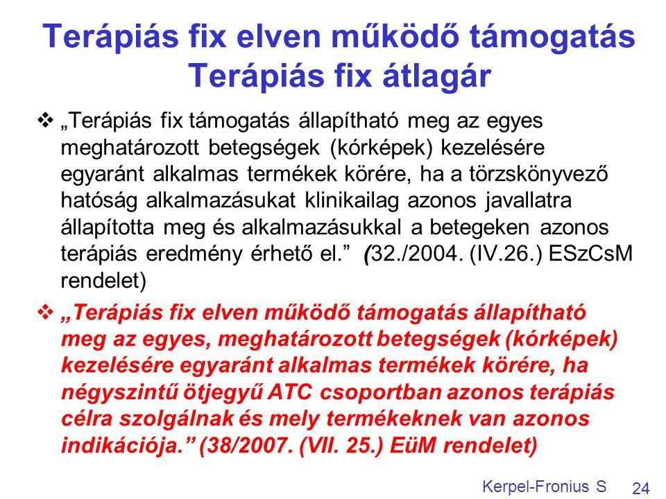 """Terápiás fix elven működő támogatás Terápiás fix átlagár  """"Terápiás fix támogatás állapítható meg az egyes meghatározott betegségek (kórképek) kezelésére egyaránt alkalmas termékek körére, ha a törzskönyvező hatóság alkalmazásukat klinikailag azonos javallatra állapította meg és alkalmazásukkal a betegeken azonos terápiás eredmény érhető el. (32./2004."""