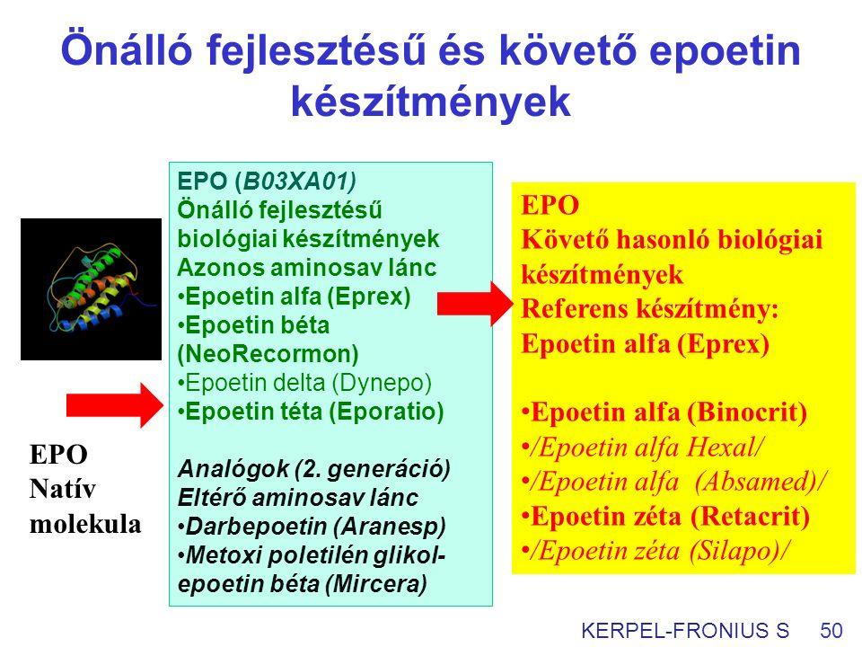 Önálló fejlesztésű és követő epoetin készítmények 50KERPEL-FRONIUS S EPO Natív molekula EPO Követő hasonló biológiai készítmények Referens készítmény: Epoetin alfa (Eprex) Epoetin alfa (Binocrit) /Epoetin alfa Hexal/ /Epoetin alfa (Absamed)/ Epoetin zéta (Retacrit) /Epoetin zéta (Silapo)/ EPO (B03XA01) Önálló fejlesztésű biológiai készítmények Azonos aminosav lánc Epoetin alfa (Eprex) Epoetin béta (NeoRecormon) Epoetin delta (Dynepo) Epoetin téta (Eporatio) Analógok (2.