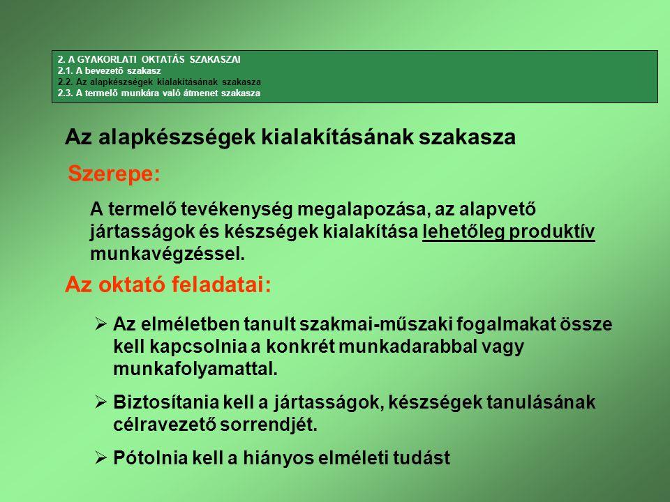 Az alapkészségek kialakításának szakasza Szerepe: Az oktató feladatai: A termelő tevékenység megalapozása, az alapvető jártasságok és készségek kialak