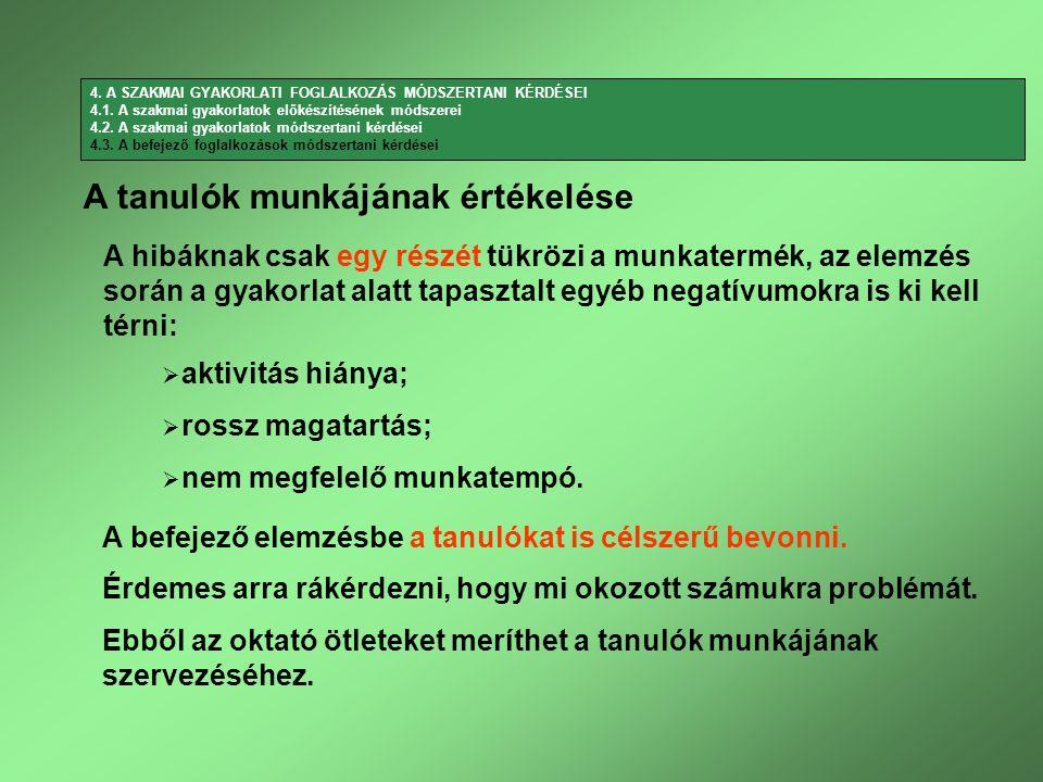 A befejező elemzésbe a tanulókat is célszerű bevonni. A hibáknak csak egy részét tükrözi a munkatermék, az elemzés során a gyakorlat alatt tapasztalt