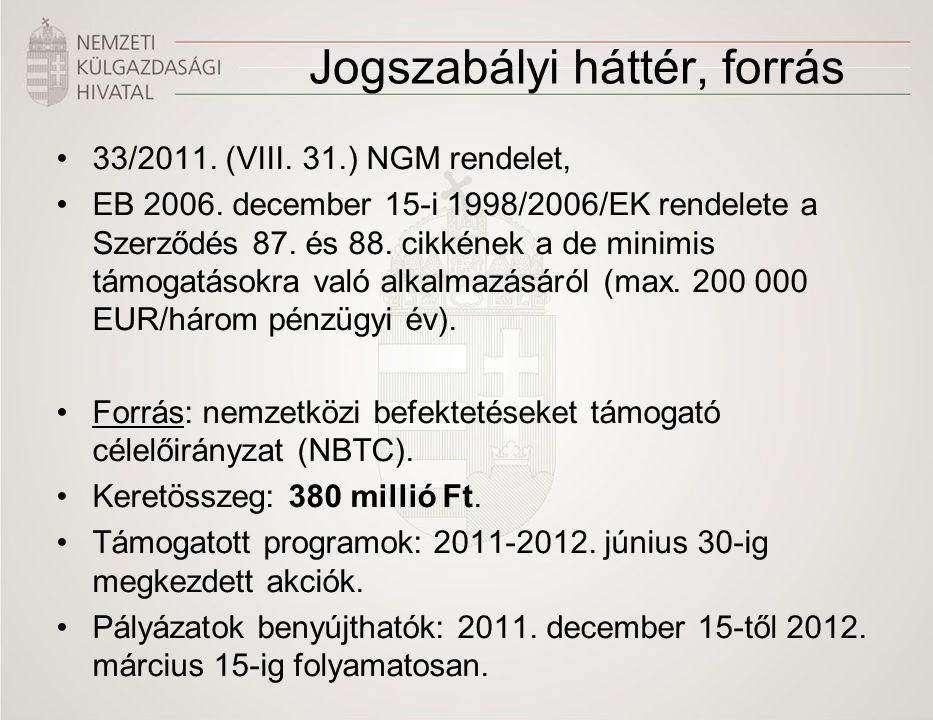 Jogszabályi háttér, forrás 33/2011. (VIII. 31.) NGM rendelet, EB 2006.
