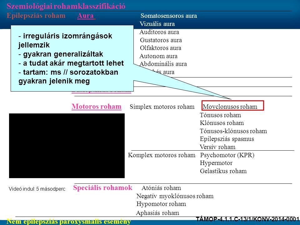 Szemiológiai rohamklasszifikáció Epilepsziás roham Aura Somatosensoros aura Vizuális aura Auditoros aura Gustatoros aura Olfaktoros aura Autonom aura