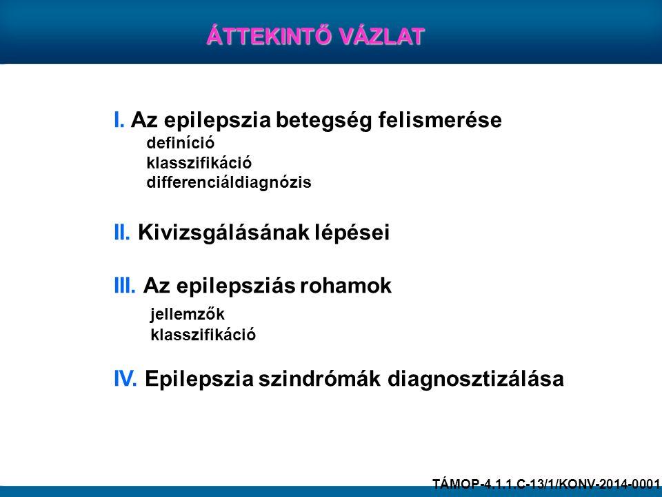 I. Az epilepszia betegség felismerése definíció klasszifikáció differenciáldiagnózis II. Kivizsgálásának lépései III. Az epilepsziás rohamok jellemzők