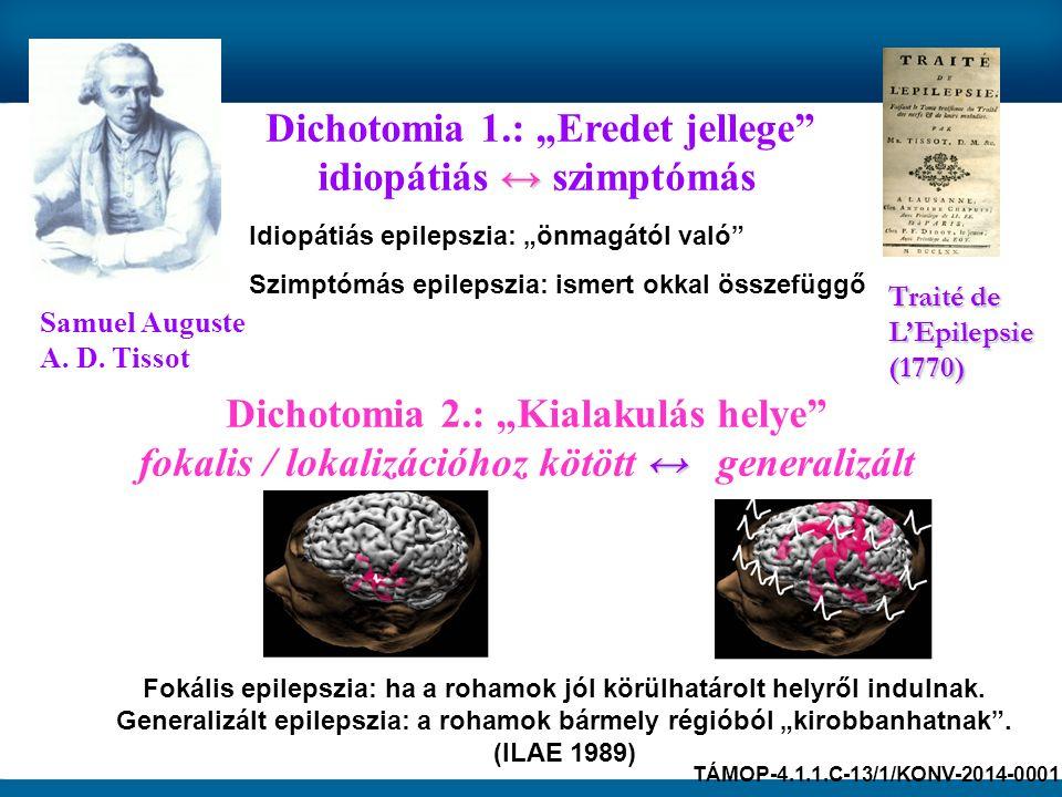 """Samuel Auguste A. D. Tissot Traité de L'Epilepsie (1770) Idiopátiás epilepszia: """"önmagától való"""" Szimptómás epilepszia: ismert okkal összefüggő Dichot"""