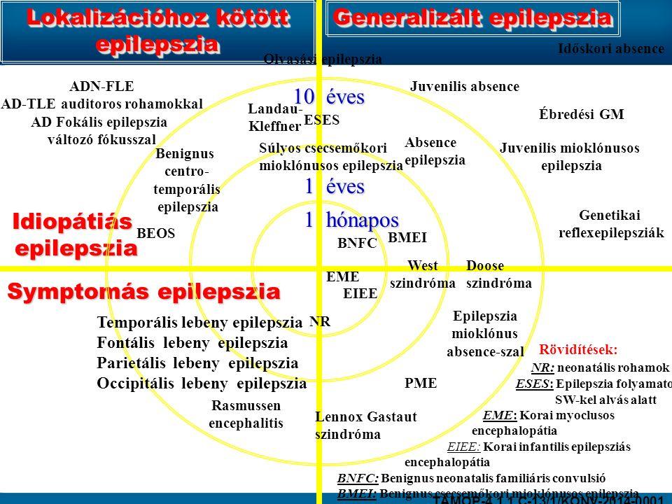 Lokalizációhoz kötött epilepszia Generalizált epilepszia Idiopátiás epilepszia epilepszia Symptomás epilepszia 1 hónapos 10 éves Olvasási epilepszia Juvenilis absence Juvenilis mioklónusos epilepszia Ébredési GM Genetikai reflexepilepsziák ESES Súlyos csecsemőkori mioklónusos epilepszia Doose szindróma Időskori absence Absence epilepszia Lennox Gastaut szindróma Epilepszia mioklónus absence-szal Benignus centro- temporális epilepszia Temporális lebeny epilepszia Fontális lebeny epilepszia Parietális lebeny epilepszia Occipitális lebeny epilepszia Rasmussen encephalitis BEOS Landau- Kleffner 1 éves NR Rövidítések: NR: neonatális rohamok ESES: Epilepszia folyamatos SW-kel alvás alatt EME: Korai myoclusos encephalopátia EIEE: Korai infantilis epilepsziás encephalopátia BNFC: Benignus neonatalis familiáris convulsió BMEI: Benignus csecsemőkori mioklónusos epilepszia BNFC BMEI EIEE EME West szindróma ADN-FLE AD-TLE auditoros rohamokkal AD Fokális epilepszia változó fókusszal PME TÁMOP-4.1.1.C-13/1/KONV-2014-0001