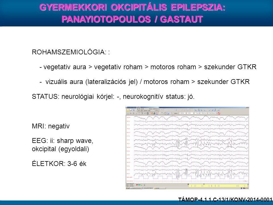 GYERMEKKORI OKCIPITÁLIS EPILEPSZIA: PANAYIOTOPOULOS / GASTAUT ROHAMSZEMIOLÓGIA: : - vegetativ aura > vegetativ roham > motoros roham > szekunder GTKR