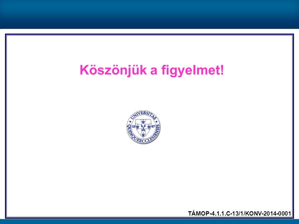 Köszönjük a figyelmet! TÁMOP-4.1.1.C-13/1/KONV-2014-0001