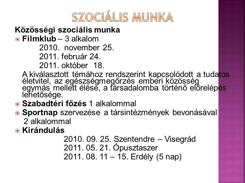 Közösségi szociális munka  Filmklub – 3 alkalom 2010. november 25. 2011. február 24. 2011. október 18. A kiválasztott témához rendszerint kapcsolódot