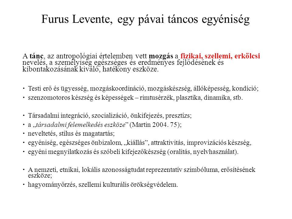 Furus Levente, egy pávai táncos egyéniség A tánc, az antropológiai értelemben vett mozgás a fizikai, szellemi, erkölcsi nevelés, a személyiség egészséges és eredményes fejlődésének és kibontakozásának kiváló, hatékony eszköze.