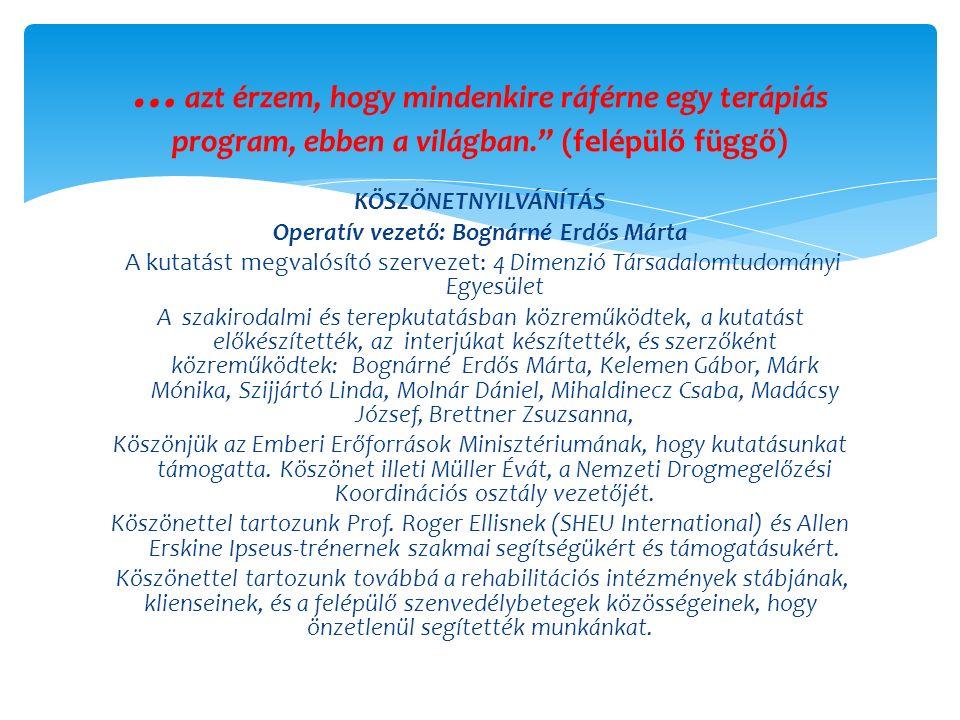 KÖSZÖNETNYILVÁNÍTÁS Operatív vezető: Bognárné Erdős Márta A kutatást megvalósító szervezet: 4 Dimenzió Társadalomtudományi Egyesület A szakirodalmi és terepkutatásban közreműködtek, a kutatást előkészítették, az interjúkat készítették, és szerzőként közreműködtek: Bognárné Erdős Márta, Kelemen Gábor, Márk Mónika, Szijjártó Linda, Molnár Dániel, Mihaldinecz Csaba, Madácsy József, Brettner Zsuzsanna, Köszönjük az Emberi Erőforrások Minisztériumának, hogy kutatásunkat támogatta.