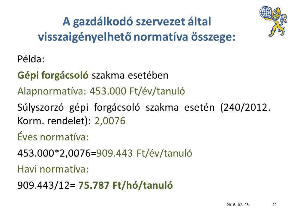 A gazdálkodó szervezet által visszaigényelhető normatíva összege: Példa: Gépi forgácsoló szakma esetében Alapnormatíva: 453.000 Ft/év/tanuló Súlyszorzó gépi forgácsoló szakma esetén (240/2012.