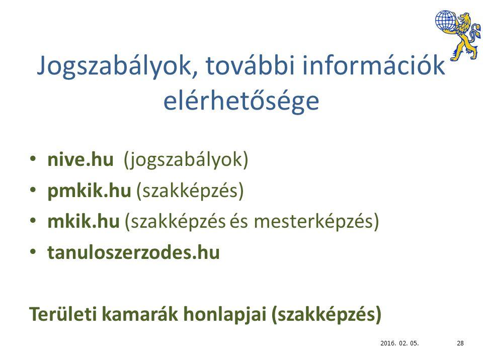 Jogszabályok, további információk elérhetősége nive.hu (jogszabályok) pmkik.hu (szakképzés) mkik.hu (szakképzés és mesterképzés) tanuloszerzodes.hu Területi kamarák honlapjai (szakképzés) 2016.