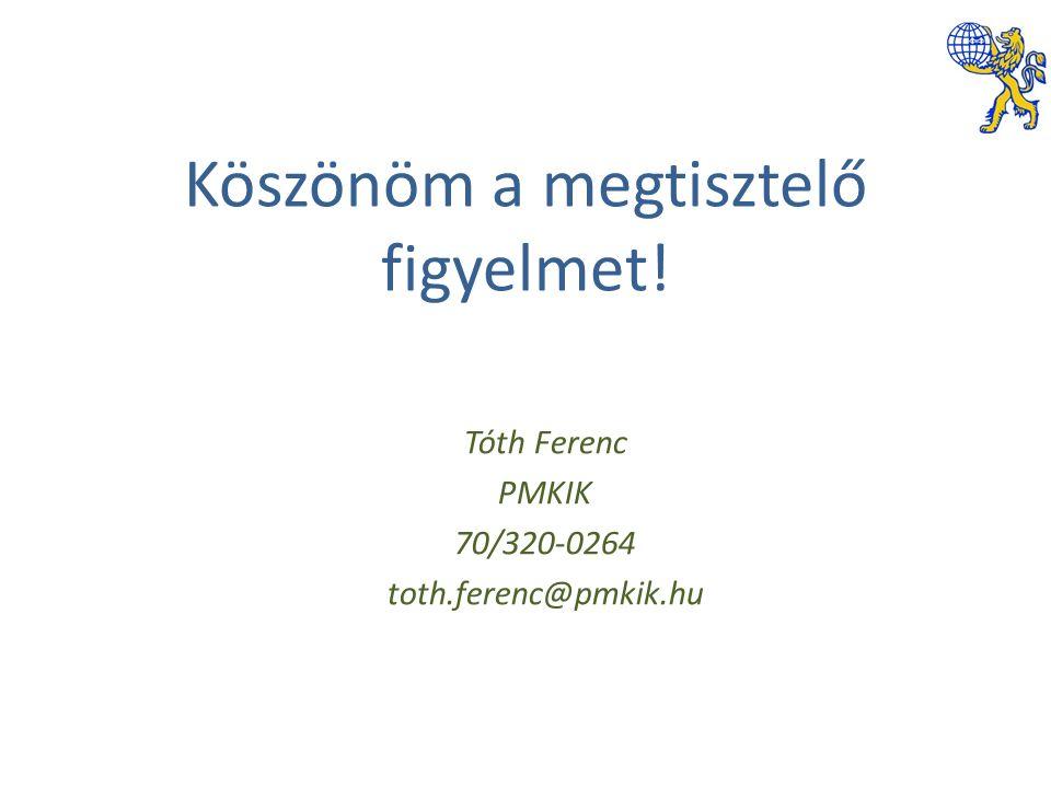 Köszönöm a megtisztelő figyelmet! Tóth Ferenc PMKIK 70/320-0264 toth.ferenc@pmkik.hu