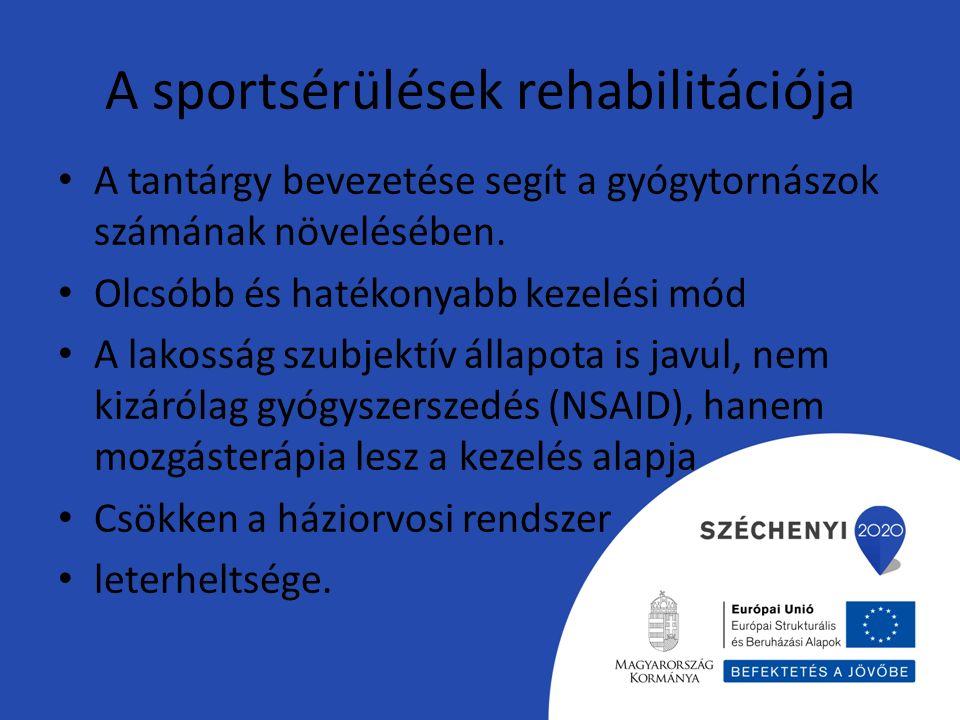 A sportsérülések rehabilitációja A tantárgy bevezetése segít a gyógytornászok számának növelésében. Olcsóbb és hatékonyabb kezelési mód A lakosság szu