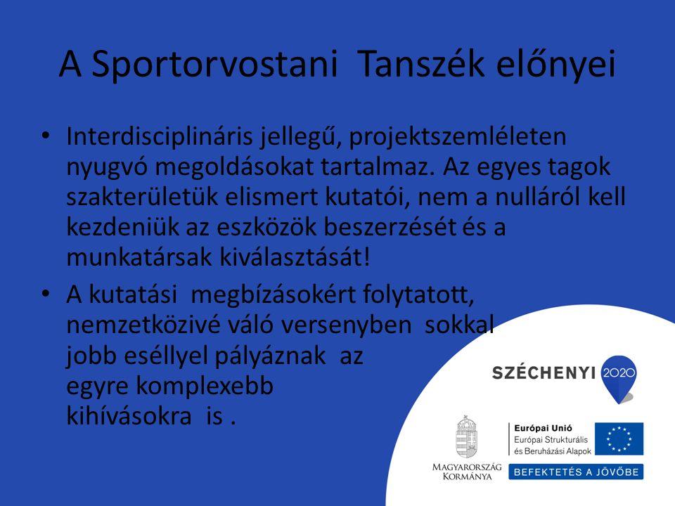 A Sportorvostani Tanszék előnyei Interdisciplináris jellegű, projektszemléleten nyugvó megoldásokat tartalmaz. Az egyes tagok szakterületük elismert k