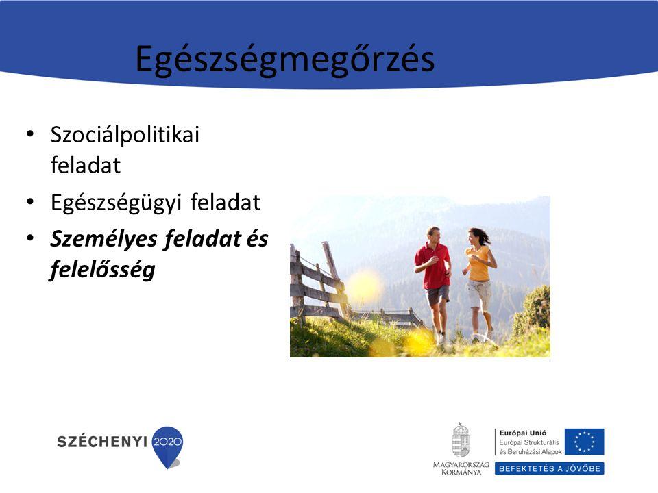 Egészségmegőrzés Szociálpolitikai feladat Egészségügyi feladat Személyes feladat és felelősség