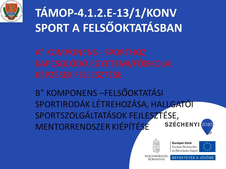 """TÁMOP-4.1.2.E-13/1/KONV SPORT A FELSŐOKTATÁSBAN A"""" KOMPONENS - SPORTHOZ KAPCSOLÓDÓ EGYETEMI/FŐISKOLAI KÉPZÉSEK FEJLESZTÉSE B"""" KOMPONENS –FELSŐOKTATÁSI"""