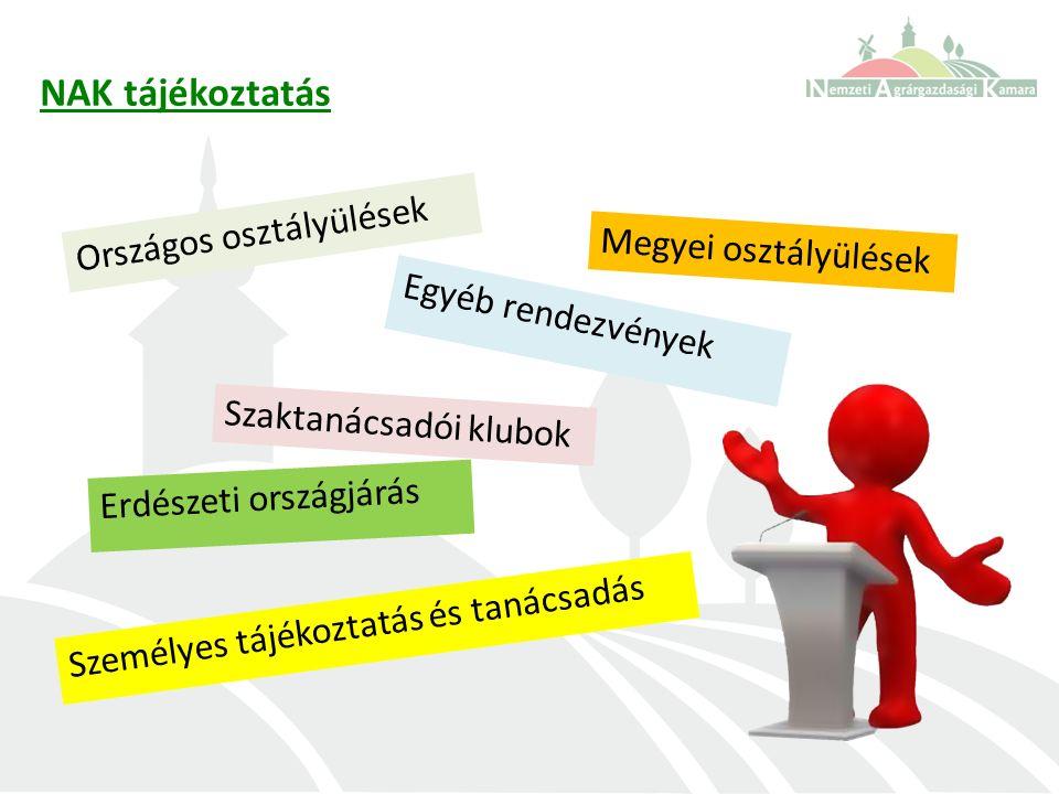 Országos osztályülések NAK tájékoztatás Megyei osztályülések Erdészeti országjárás Egyéb rendezvények Személyes tájékoztatás és tanácsadás Szaktanácsadói klubok