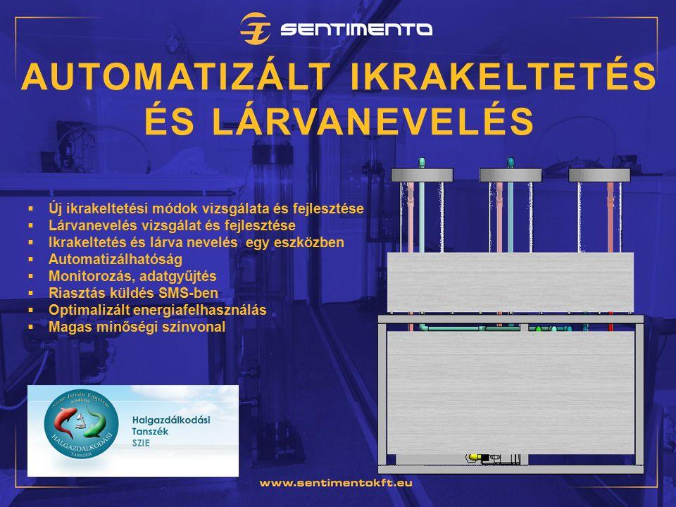 AUTOMATIZÁLT IKRAKELTETÉS ÉS LÁRVANEVELÉS  Új ikrakeltetési módok vizsgálata és fejlesztése  Lárvanevelés vizsgálat és fejlesztése  Ikrakeltetés és lárva nevelés egy eszközben  Automatizálhatóság  Monitorozás, adatgyűjtés  Riasztás küldés SMS-ben  Optimalizált energiafelhasználás  Magas minőségi színvonal