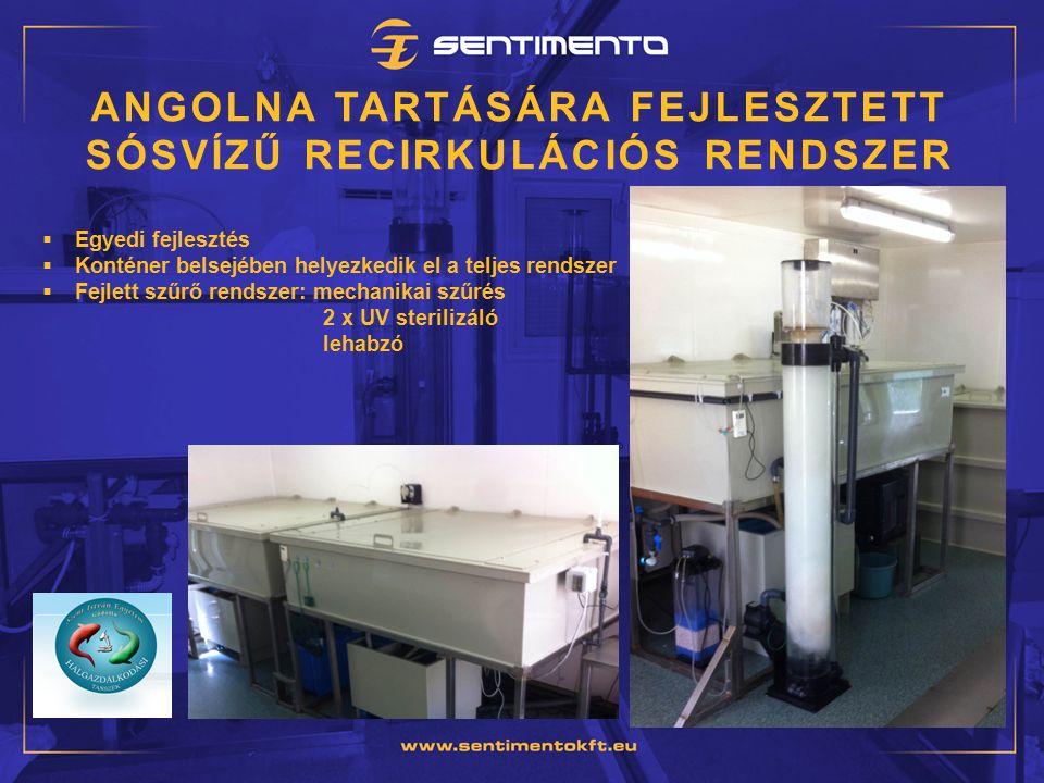 ANGOLNA TARTÁSÁRA FEJLESZTETT SÓSVÍZŰ RECIRKULÁCIÓS RENDSZER  Egyedi fejlesztés  Konténer belsejében helyezkedik el a teljes rendszer  Fejlett szűrő rendszer: mechanikai szűrés 2 x UV sterilizáló lehabzó