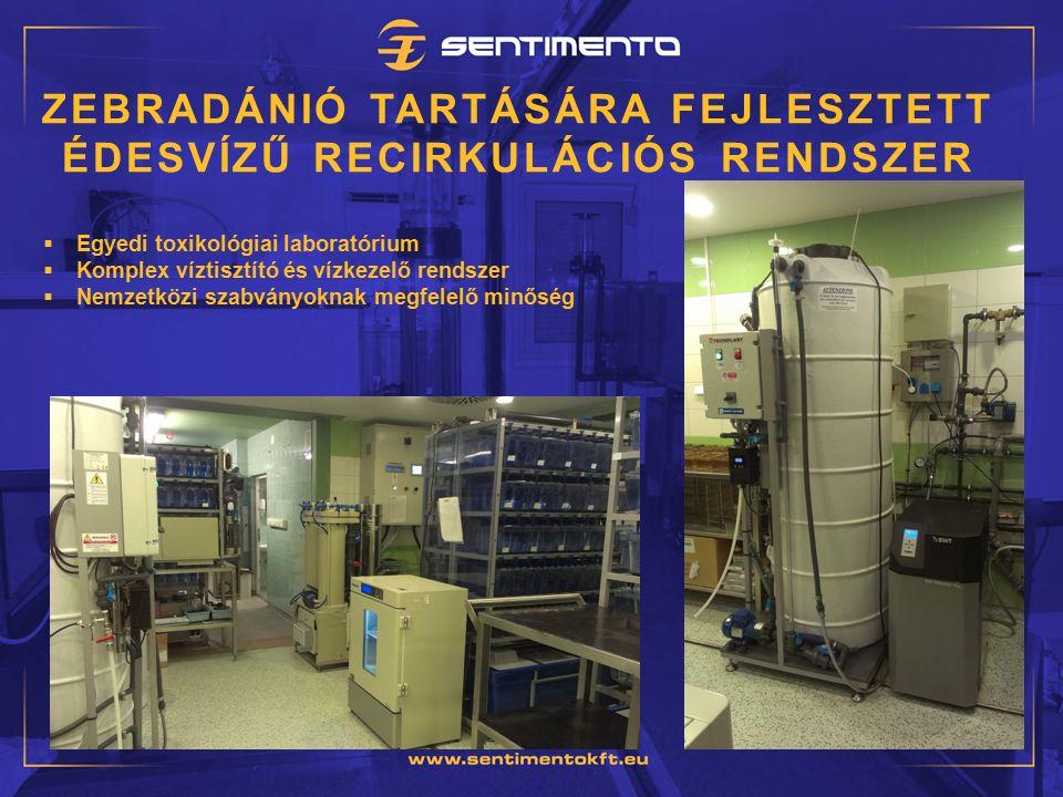 ZEBRADÁNIÓ TARTÁSÁRA FEJLESZTETT ÉDESVÍZŰ RECIRKULÁCIÓS RENDSZER  Egyedi toxikológiai laboratórium  Komplex víztisztító és vízkezelő rendszer  Nemzetközi szabványoknak megfelelő minőség