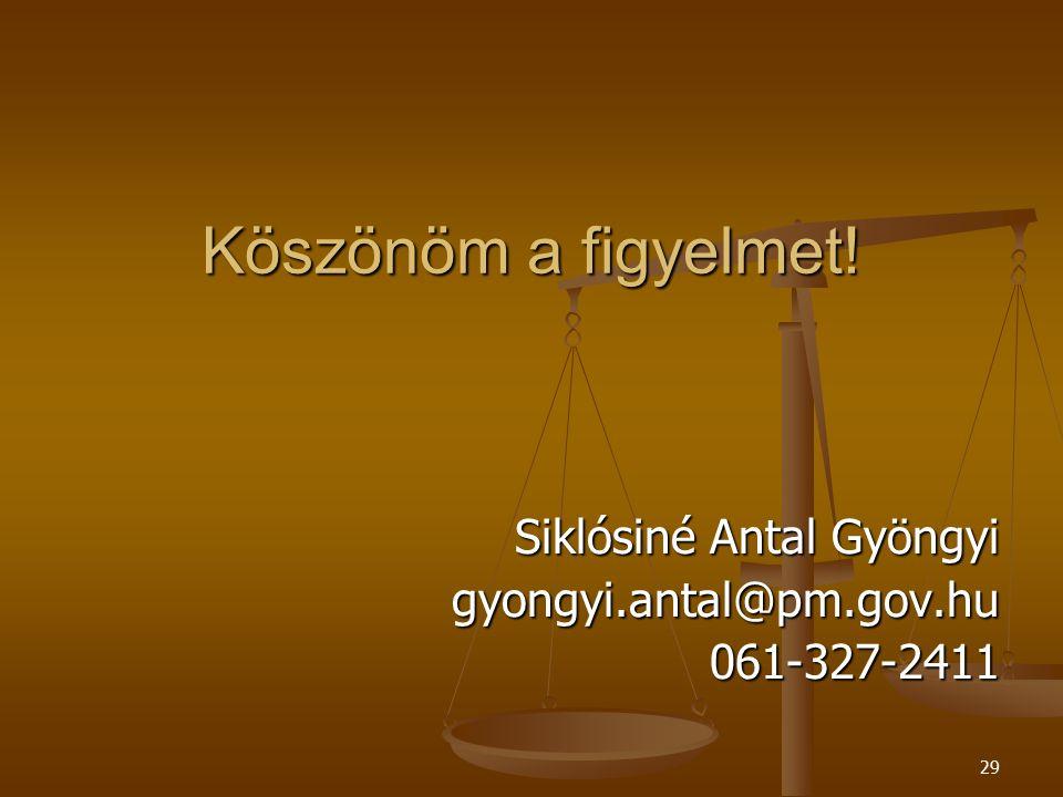 29 Köszönöm a figyelmet! Siklósiné Antal Gyöngyi gyongyi.antal@pm.gov.hu061-327-2411