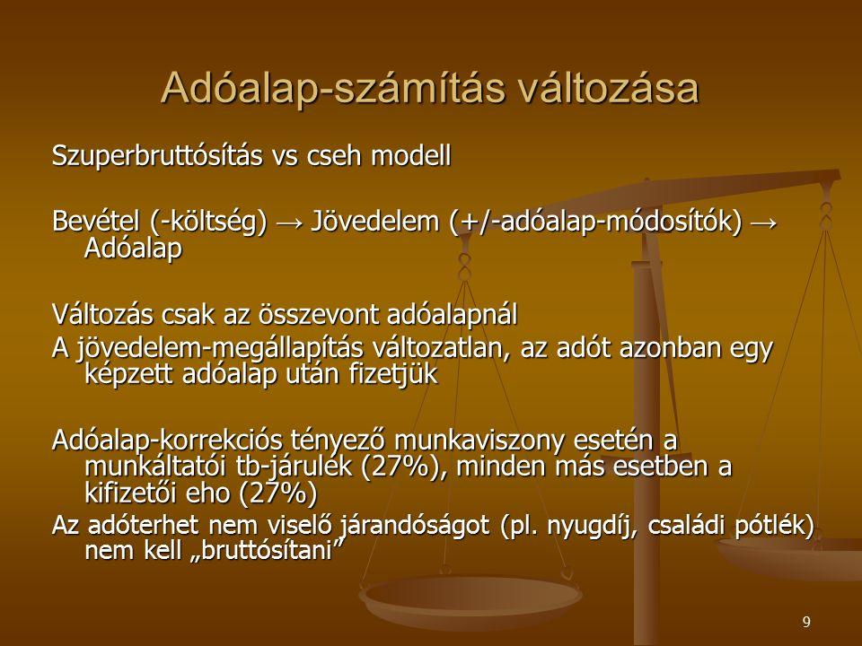 9 Adóalap-számítás változása Szuperbruttósítás vs cseh modell Bevétel (-költség) → Jövedelem (+/-adóalap-módosítók) → Adóalap Változás csak az összevont adóalapnál A jövedelem-megállapítás változatlan, az adót azonban egy képzett adóalap után fizetjük Adóalap-korrekciós tényező munkaviszony esetén a munkáltatói tb-járulék (27%), minden más esetben a kifizetői eho (27%) Az adóterhet nem viselő járandóságot (pl.