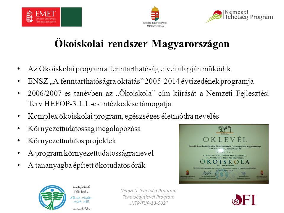 """Ökoiskolai rendszer Magyarországon Az Ökoiskolai program a fenntarthatóság elvei alapján működik ENSZ """"A fenntarthatóságra oktatás 2005-2014 évtizedének programja 2006/2007-es tanévben az """"Ökoiskola cím kiírását a Nemzeti Fejlesztési Terv HEFOP-3.1.1.-es intézkedése támogatja Komplex ökoiskolai program, egészséges életmódra nevelés Környezettudatosság megalapozása Környezettudatos projektek A program környezettudatosságra nevel A tananyagba épített ökotudatos órák Nemzeti Tehetség Program Tehetségútlevél Program """"NTP-TÚP-13-002"""